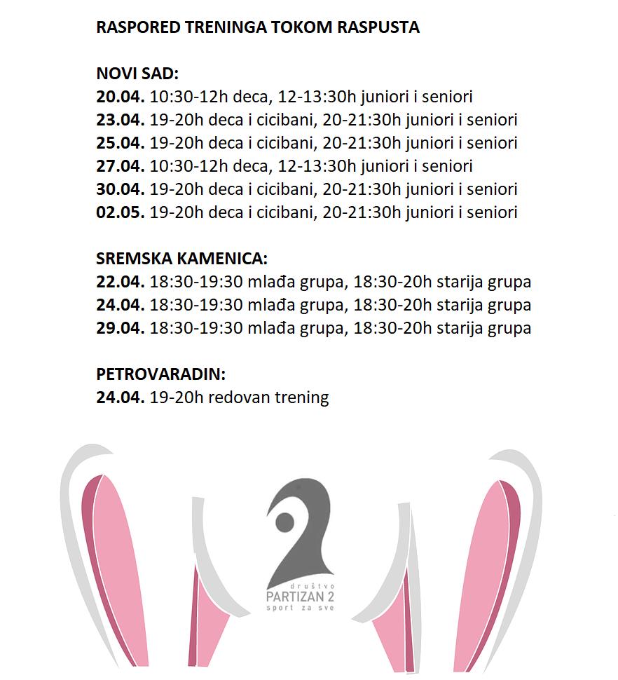 raspored treninga za prolecni raspust